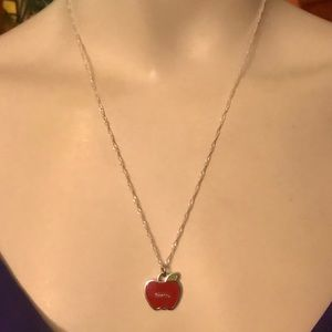 Coach Red Enamel Apple .925 Sterling Necklace